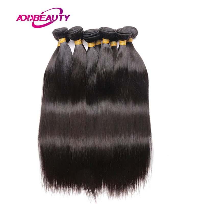 Addbeauty 10Pcs Lot Indian Straight 100% Human Virgin Hair Bundles Extension Inch Natural Color Double Weft For Black Woman