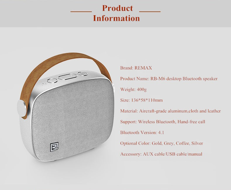 Portable Desktop Speakers Wireless Bluetooth Speaker Remax RB-M6 HIFI Handsfree Design fm radio soundbar for smart phone (3)