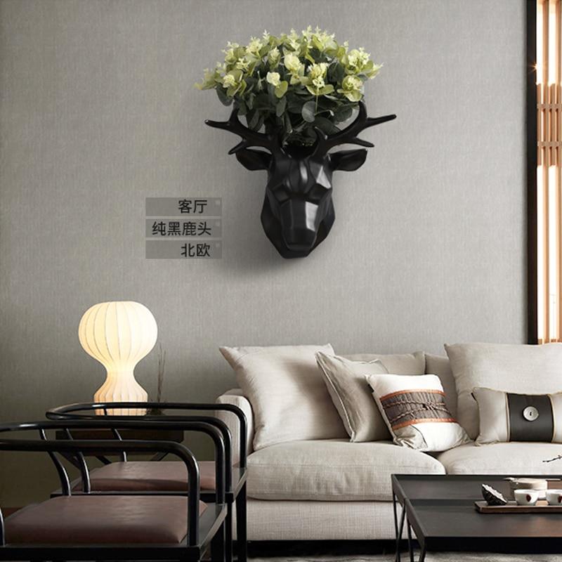 Скандинавский Олень голова крюк на стену декоративная подвеска Гостиная Кабинет фон Стена цветок композиция аксессуары для дома - 5