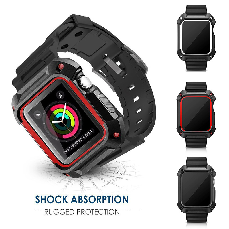 fohuas TPU Rubber Watch Band with Rugged Protective Case for Apple Watch Series 1 Series 2 iwatch 38/42mm Strap Bracelet Frame