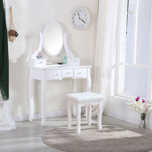White Makeup Dressing Table Vanity Set Oval Mirror Jewelry Wood 5