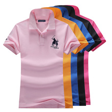 Good quality womens polo shirt embroidery horse short-sleeved woman cotton spandex causal hydrangea P17