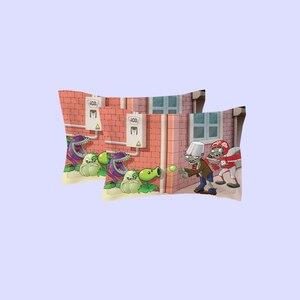 Image 3 - Novo 3d dos desenhos animados conjuntos de cama plantas vs zumbis vermelho anime impressão capa edredão cobertor fronha rainha completa rei tamanho cama se