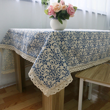 Ins Fashion Table Clothes Rectangular Table Covers Classic Print Lace Thick Blue Tablecloth Decoration Towel Cloth 100X140CM