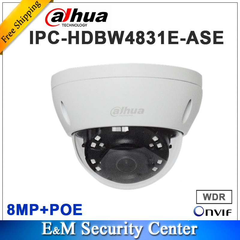 Original DH IPC HDBW4831E ASE english with logo 8MP POE IR Mini Dome Network Camera IP67