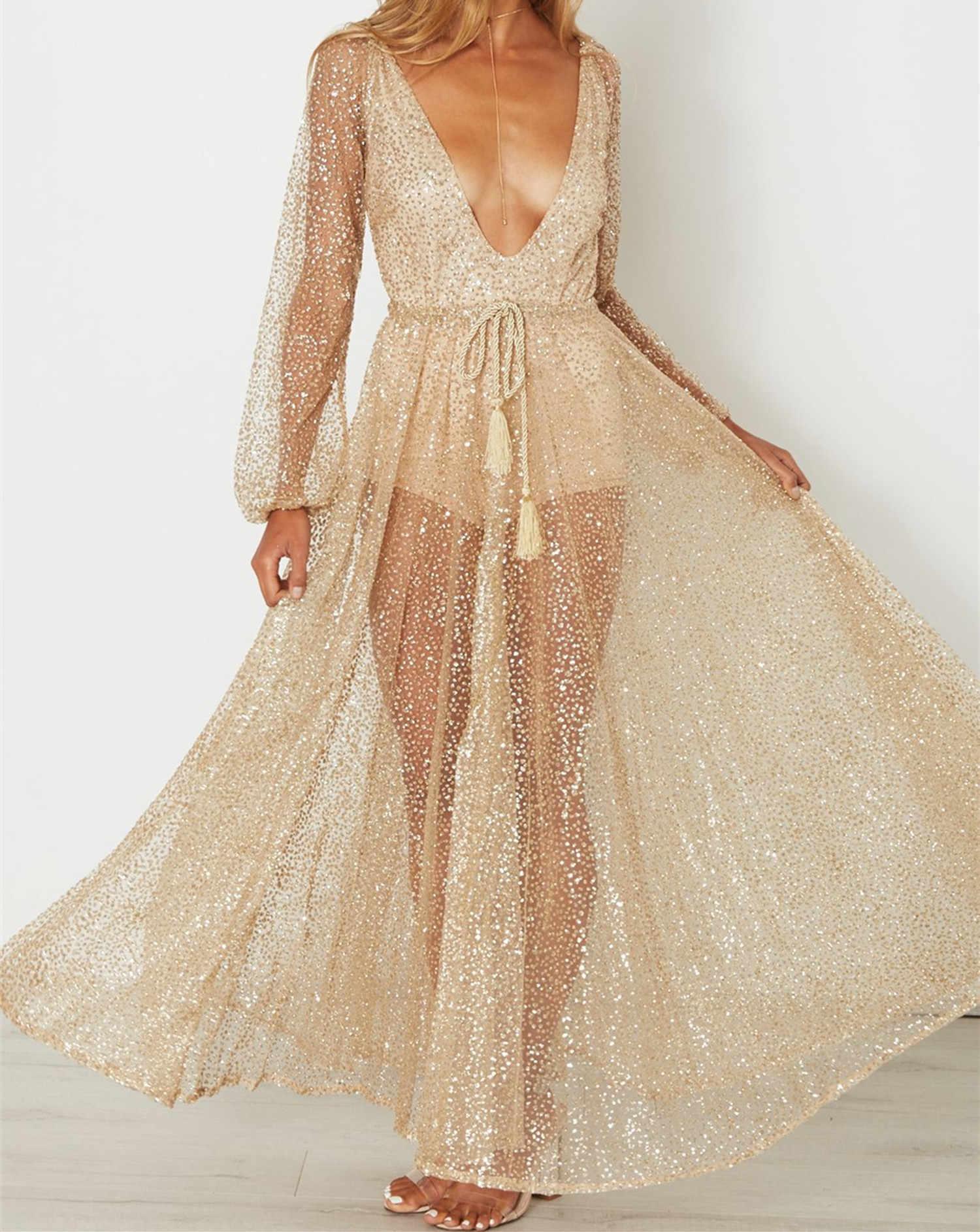 19efcd79d7 ... V Neck Long Sleeve Sequin Party Dresses Sexy Mesh See Through Dress  Women Boho Long Maxi ...