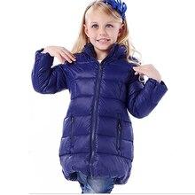 Девушки зимняя куртка вниз Куртки Пальто 2016 НОВЫЕ теплые Дети детские толстая утка пуховик Детей Outerwears холодной winter-30degree
