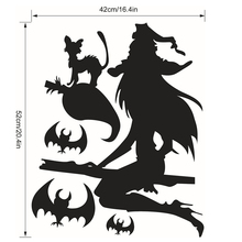 Halloween Witch Bats Wall Sticker Festival Party Decor Decal – Black
