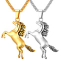 New Arrival  Running Horse Necklace Pendant yellow Gold Plated Stainless Steel Necklace For Women Men Gift  P198