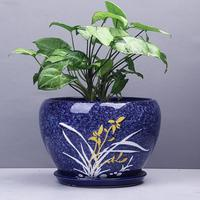 Chinese style ceramic flower pot wholesale orchid green plant pot Water absorbing breathable bonsai pot garden ceramic pots