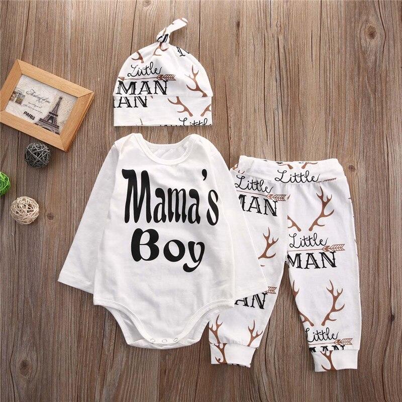 ad9367b6bcf2 Mama s Boy Infant Baby Kid Boys Christmas Sets 3PCS Casual Deer ...