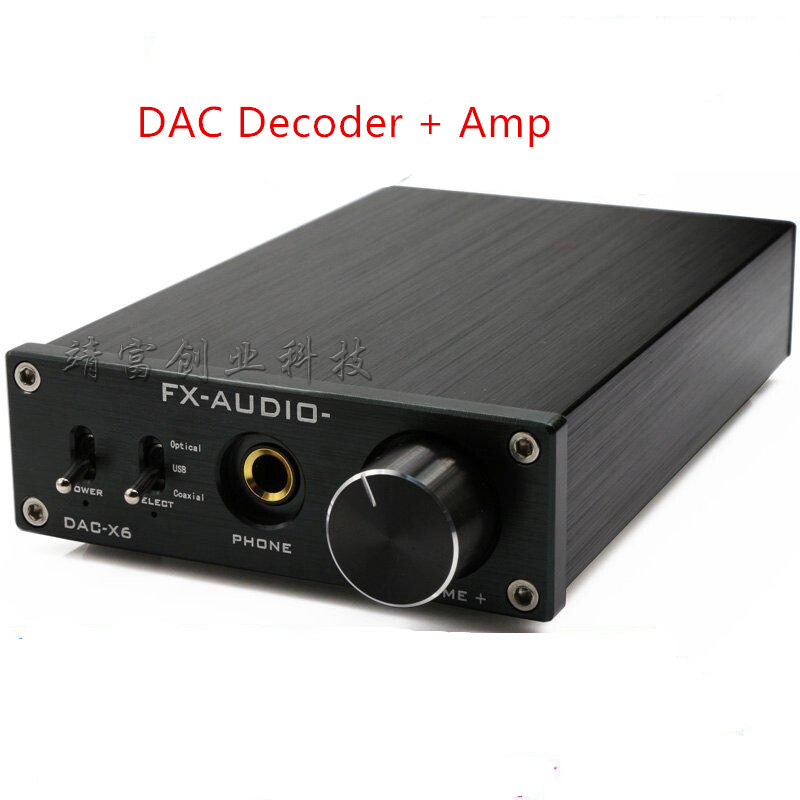 DC12V 1A DAC-X6 fever HiFi amp USB Fiber Coaxial digital audio amplifier DAC decoder 24BIT / 192 fx audio dac x6 fever hifi optical coaxial usb amplifier digital audio frequency dac decoder headphone amp 24bit 192 dc12v 1a