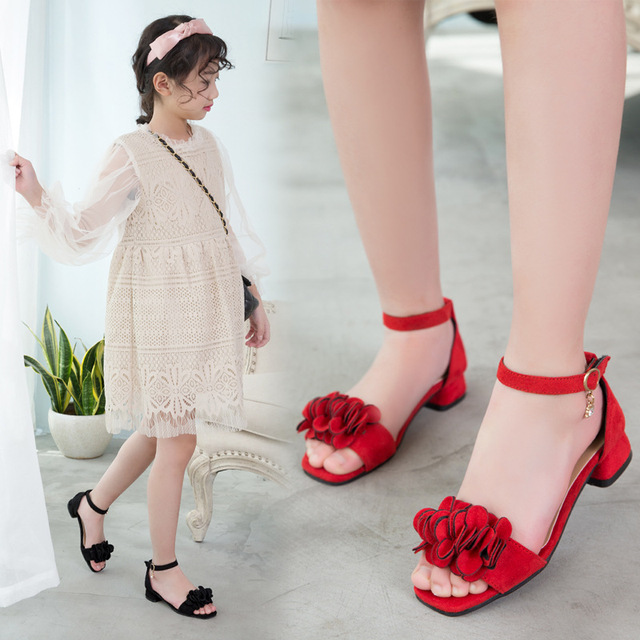 Flowers Girls Sandals 2019 Beach Children'S Shoes Princess Kids Sandals Summer Shoes Girl High Heels 4 5 7 8 9 10 11 12 Year Old 3