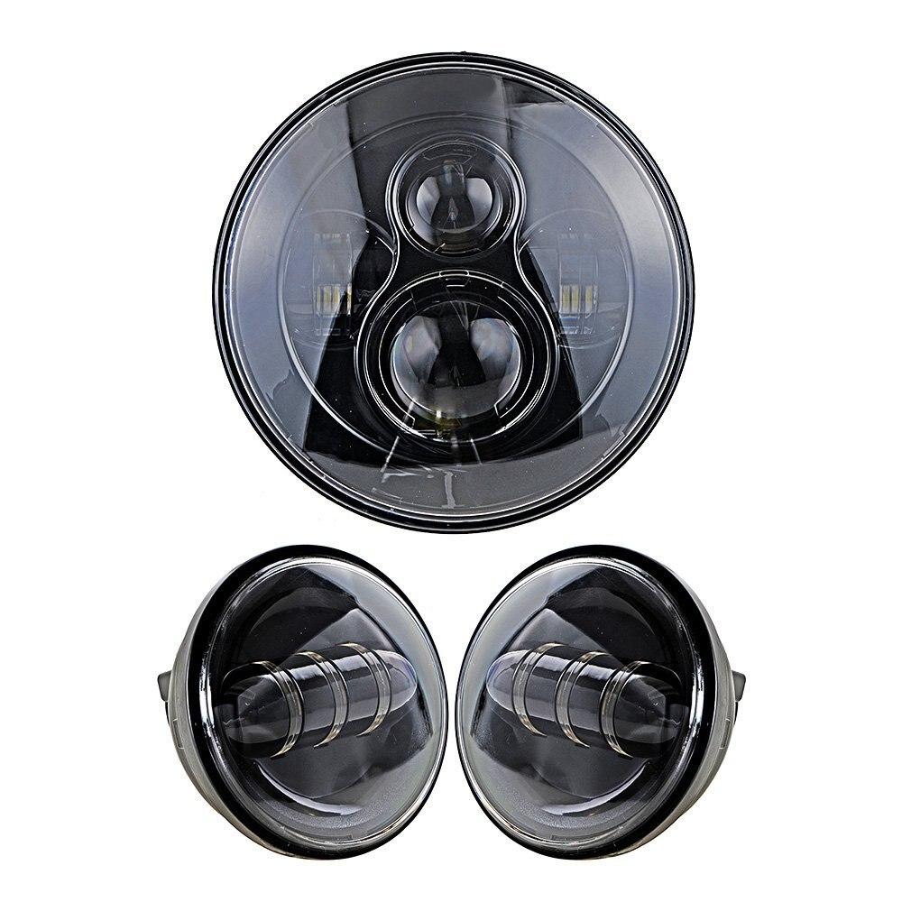 7 POUCES Daymaker Phare + Double 4.5 ''4-1/2 POUCES Auxiliaire Apercevoir le Passage LED Brouillard Lumières Ampoule pour Harley Motos