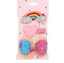 New Glittering kids rainbow hair Clips Girls Bowknot Hairpins barrette Kids Headwear Children Fashion Accessories J89