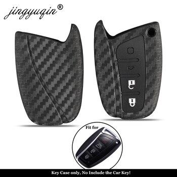 Jingyuqin dla Hyundai Santa Fe IX35 Grand Car Styling 4 przyciski Auto Key Cover karbonowy futerał na klucz obudowa pilota z kluczykiem samochodowym ochrona