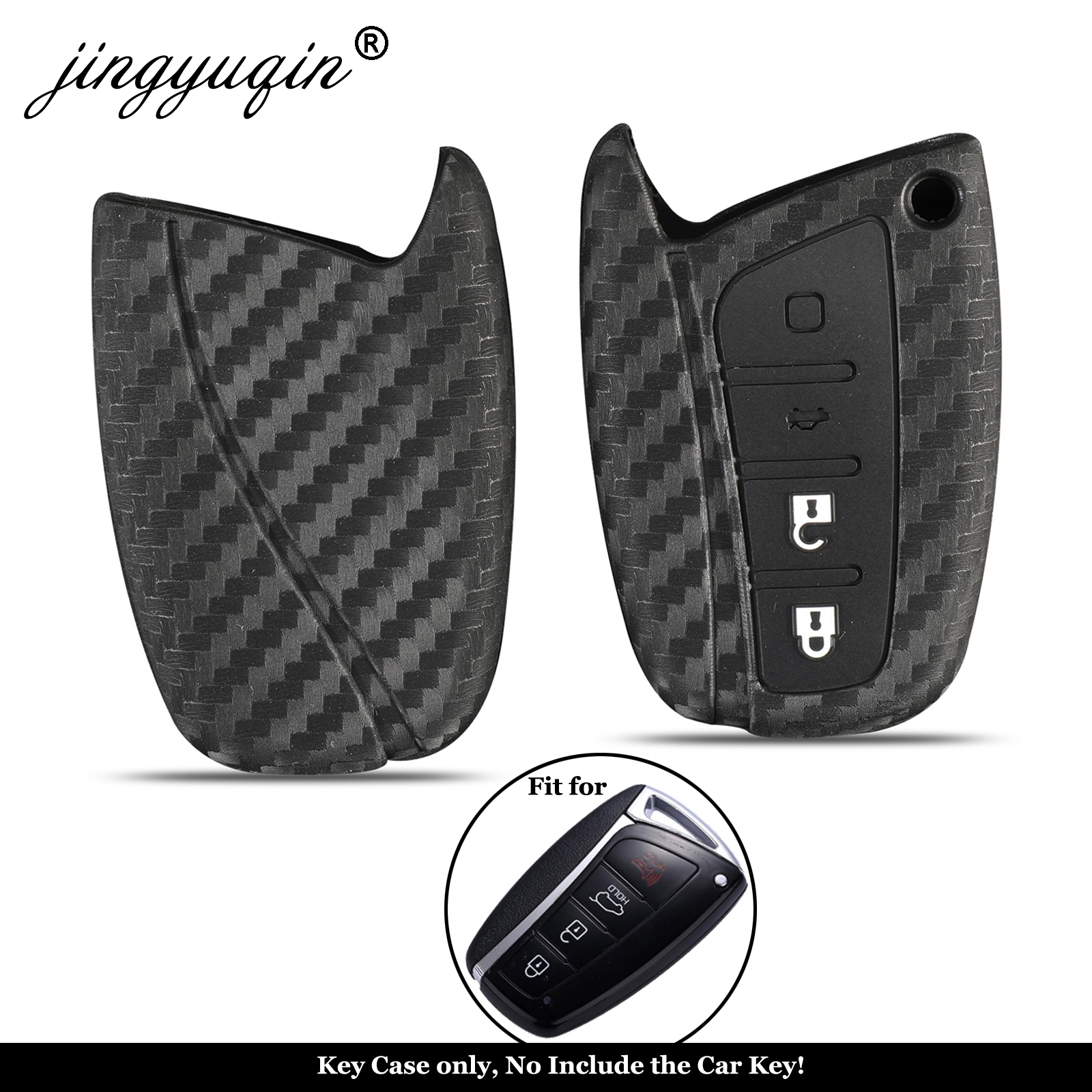 Jingyuqin For Hyundai Santa Fe IX35 Grand Car Styling 4 Buttons Auto Key Cover Carbon Silicone Remote Key Case Protection