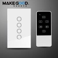 Makegood US AU 4 Gang 1 Way Smart Switch Crystal Glass Panel Touch Light Switch Wireless