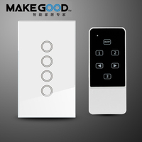 Makegood US AU 4 Gang 1 Way Smart Switch Crystal Glass Panel Touch Light Switch Wireless