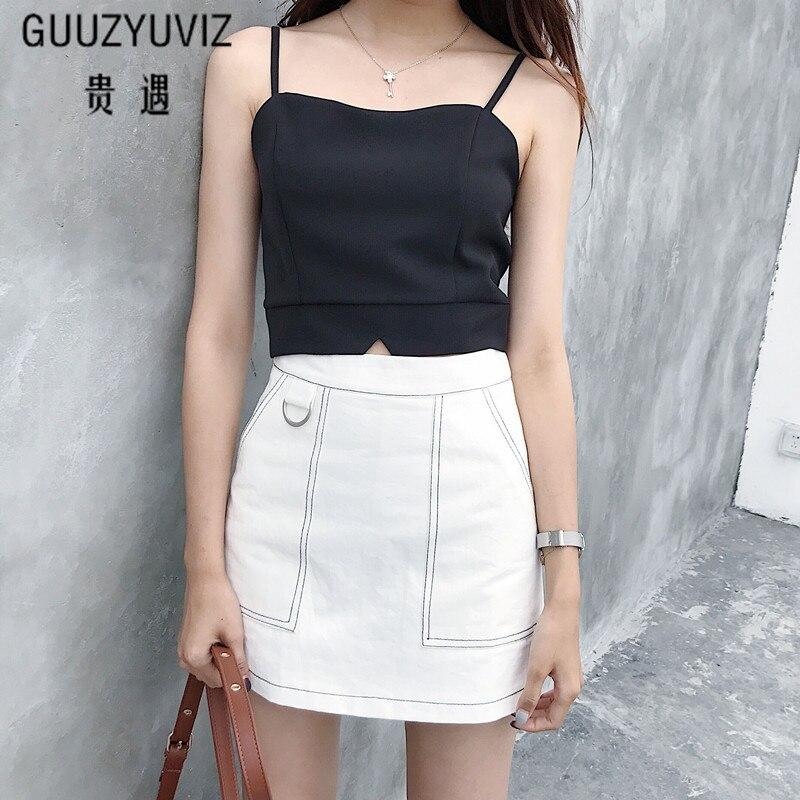 GUUZYUVIZ Sexy Sling Sleeveless Women Tops Black White Blue Zipper Bustier Short Tank Top Women 2018 Summer Crop Top Female