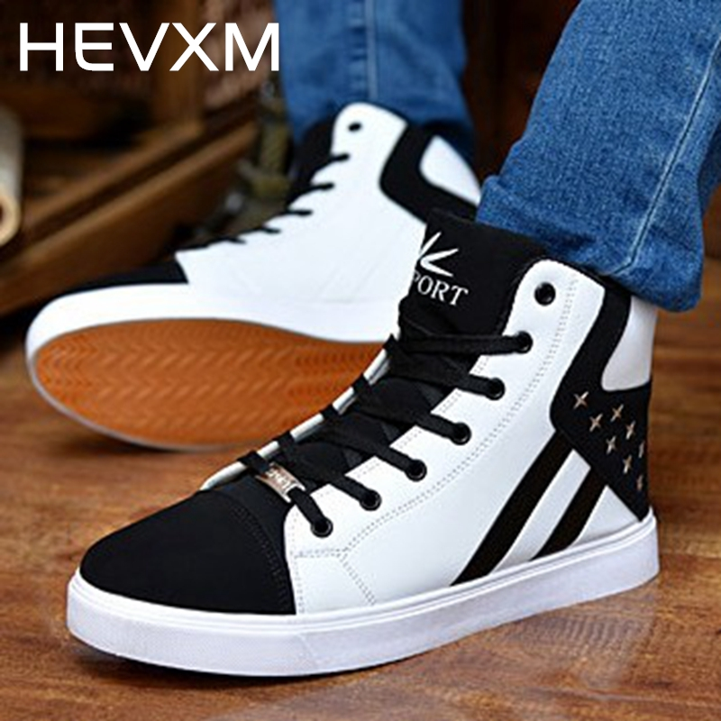 HEVXM 2017 New Men Shoes Spring And Autumn Fashion Men Casual Shoes Lace-Up Warm Shoes Mixed Color High Top Flat With Mens Shoes 2016 new trend luxury brand high top man shoes flat fashion mixed color lace up spring autumn leather man casual shoes patchwork page 3