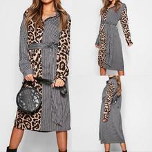 Autumn Spring Fashion Women Dress Chiffon Long Sleeve Print Patchwork Maxi Leopard A Line Party Dresses Sexy Vestidos#c309