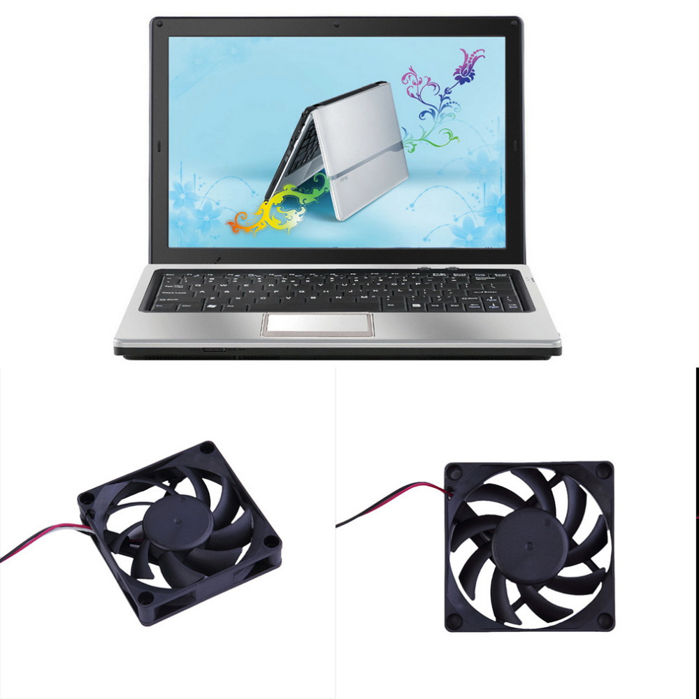 12V 7CM Computer Case Cooling Fan 3pin PC CPU Cooling <font><b>Cooler</b></font> Fan Black Heat Sink Small Cooling Fan PC image