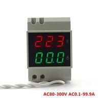รางDINดิจิตอลACโวลต์มิเตอร์แอมมิเตอร์AC80-300V AC0.1-99.9AสีแดงสีเขียวLed AC110V 220โวลต์100Aแรงดันไฟฟ้าตรวจจับปัจจ...
