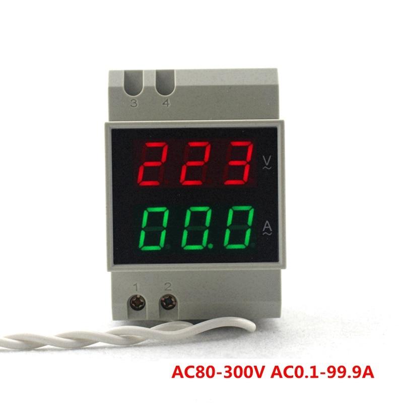 DIN RAIL Digitális váltóáramú voltmérő AC80-300V 450 V piros zöld LED AC110V 220V 100A feszültségérzékelő árammérő teszter