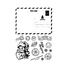 Santa Claus Post Card Transparent Rubber Stamps Silicone Seals for Scrapbooking DIY Photo Album Embossing Folder Paper Template 10pcs set creative plastic clothes folding pant folder clothes closet fast speed fold organize storage lazy stacking cloth board