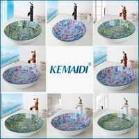 KEMAIDI ORB Black Faucet Glass Washbasin Vessel Lavatory Basin Bathroom Sink Bath Combine Brass Vessel Vanity