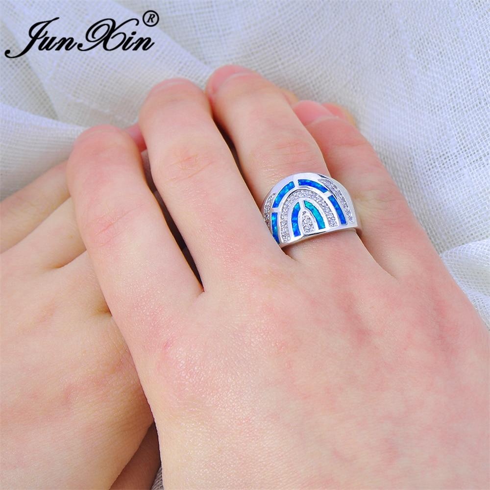 JUNXIN Gorgeous Women Blue Fire Opal Ring Fashion 925 Sterling ...
