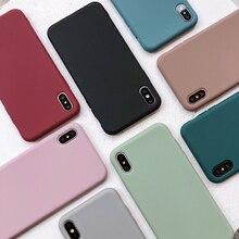 חוסר מוצק צבע סיליקון זוגות מקרים עבור iphone XR X XS מקסימום 6 6S 7 8 בתוספת 11 11Pro מקסימום חמוד צבעים בוהקים רך פשוט אופנה טלפון מקרה חדש