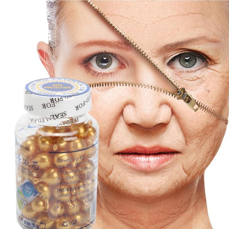 90Pcs/Bottle Vitamin E Capsules Serum Spot Acne Removing Whitening Cream Ve Facial Freckle Capsule Face Skin Care