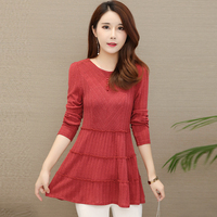 Spring Autumn O Neck Solid Womens Tops And Blouses Casual Long Sleeve Shirts Female Clothes Plus Size 5XL