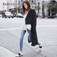 TWOTWINSTYLE Yün Palto Kadınlar Için Düzensiz Kruvaze Yaka Yaka Uzun Palto Kadın 2018 Bahar Moda OL Giyim