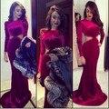 Red Hot Sexy Sirena Del O-cuello Que Rebordea Abierto Cintura Manga Larga Piso Vestidos Largos de Noche