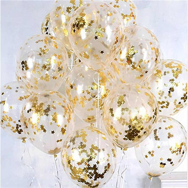 18/10 Pc Logam Chrome Emas Perak Balon Lateks Transparan Emas Confetti Balon Ulang Tahun Pernikahan Rose Emas Dekorasi Pesta balao