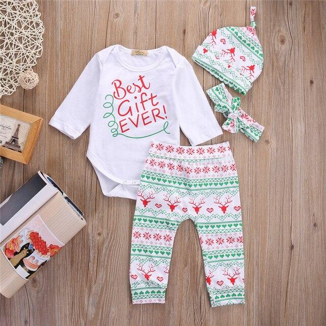Erste Weihnachten Beste Clother Jungen Mädchen Tops Strampler Deer Leggings Hut Stirnband Outfits Sets
