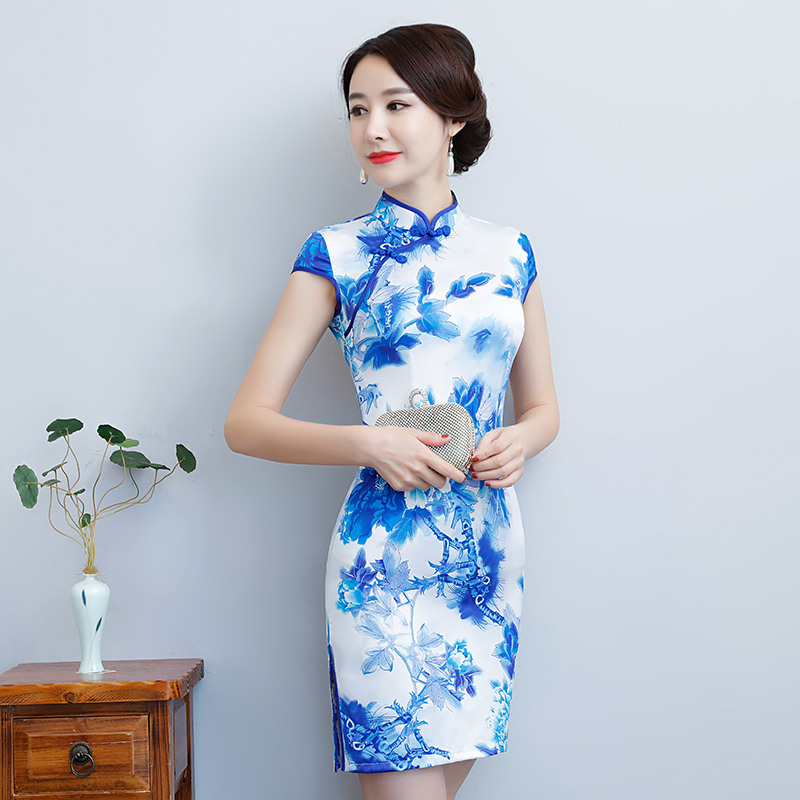 New Arrival Women's Satin Mini Cheongsam Fashion Chinese Style Dress Elegant Slim Qipao Clothing Size S M L XL XXL 368483 5