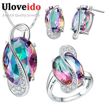 Uloveido 50% off Wedding Jewelry Sets for Women Brides Silver Plated Colored Stud Earrings Ring Necklace Bridal Jewelry Set T155