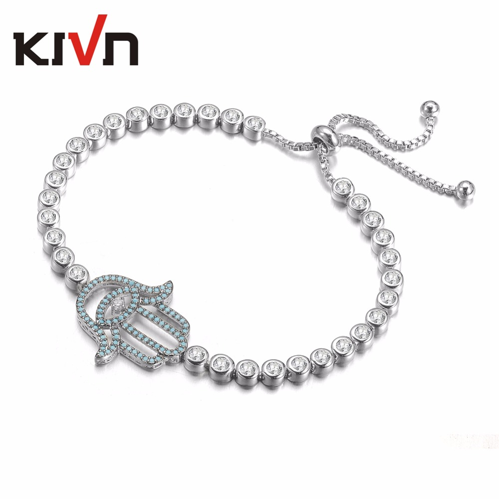KIVN Fashion Jewelry Adjustable Hamsa Hand Blue eye Pave CZ Cubic Zirconia Womens Girls Wedding Bridal Bracelets Birthday Gifts