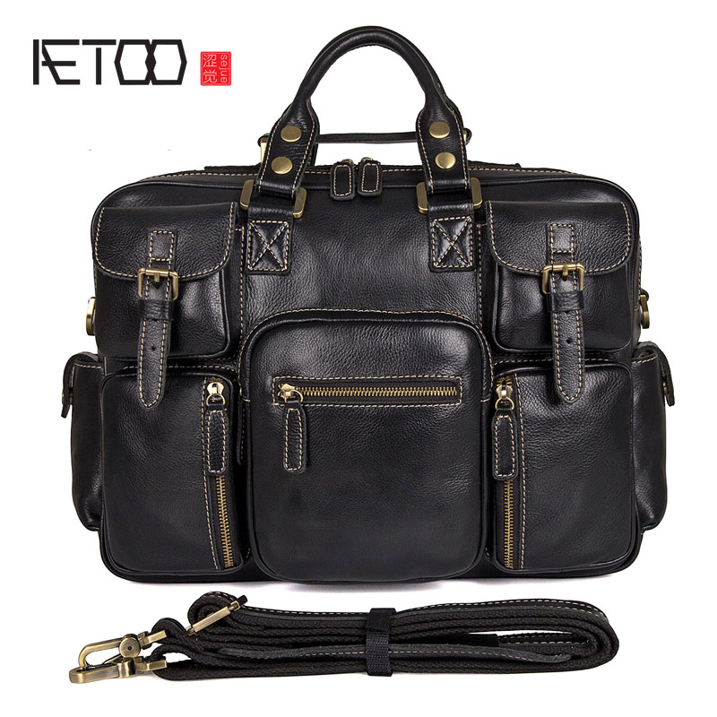 AETOO Men 's first layer of leather handbag leather men' s shoulder Messenger bag retro briefcase men s leather oblique cross chest packs of the first layer of leather deer pattern men s shoulder bag korean fashion men s bag