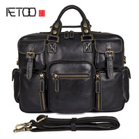 AETOO Men S First Layer Of Leather Handbag Leather Men S Shoulder Messenger Bag Retro Briefcase