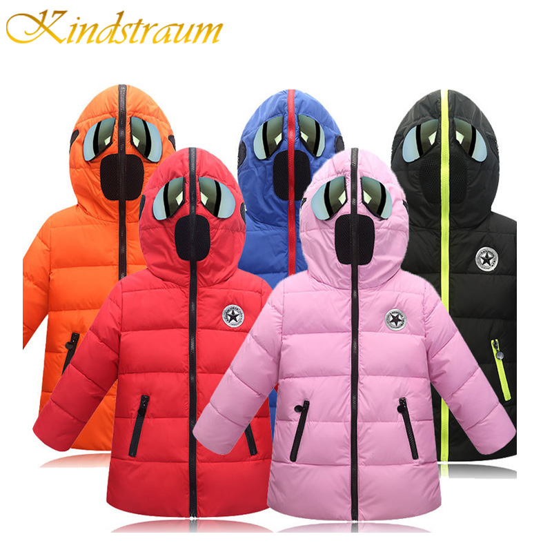 Kindstraum 2017 Kids Winter Cotton Jacket for Boys & Girls Glasses Hooded Children Fashion Warm Thick Coat Casual Outwear, MC756 2016 winter dinosaur monster jacket fashion girls boys cotton hooded coat children s jacket warm outwear kids casual wear 16a12