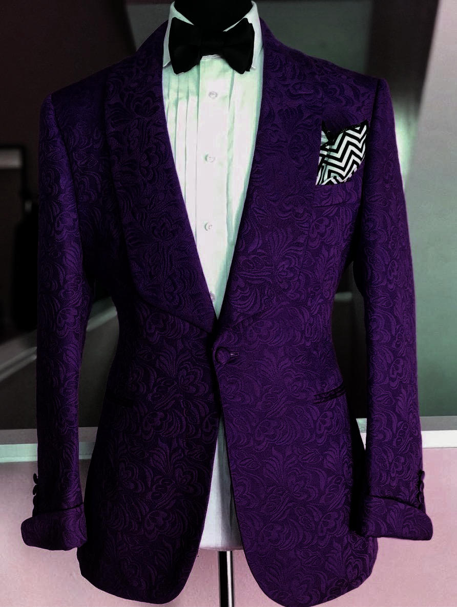 2019 New Design Custom Made Groom Tuxedo Dark Purple Floral Printed Men Suit Set For Wedding Prom Best Man Suits With Pants