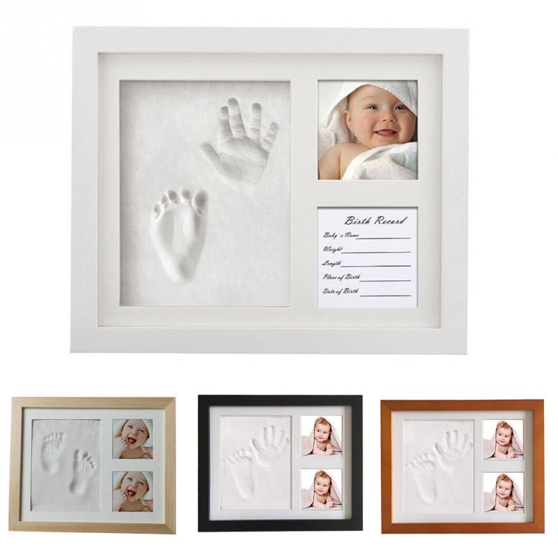 4 Colors Cute Baby Photo Frame 3D DIY Footprint Handprint  Inkpad Wooden Photo Frame Home Decoration Baby Growth Ceremony Gift