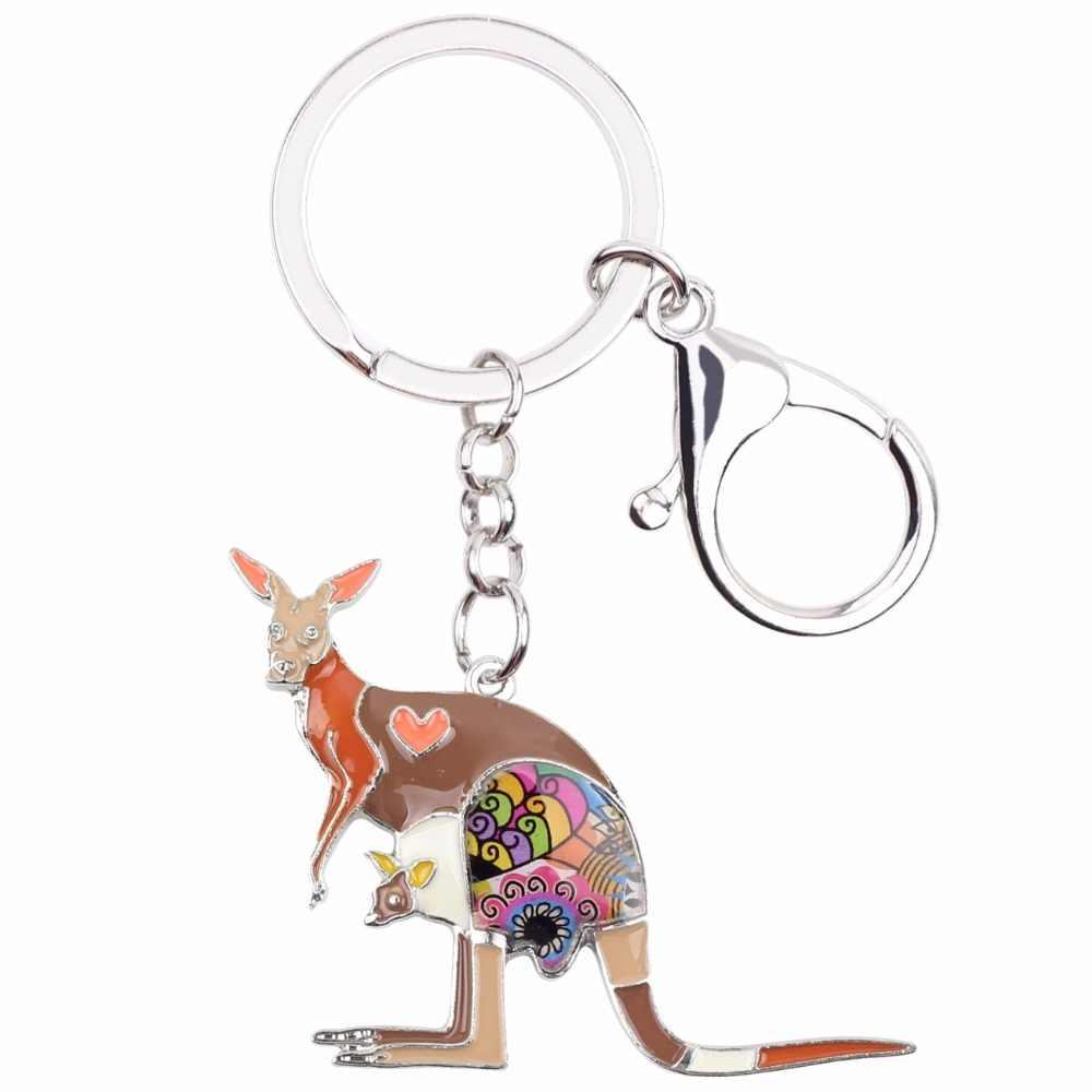 WEVENI Men Floral Úc Kangaroo Key Chain Phụ Nữ Cô Gái Keyring Quà Tặng Túi Quyến Rũ Móc Chìa Khóa chìa khóa Xe Ví Thời Trang Đồ Trang Sức