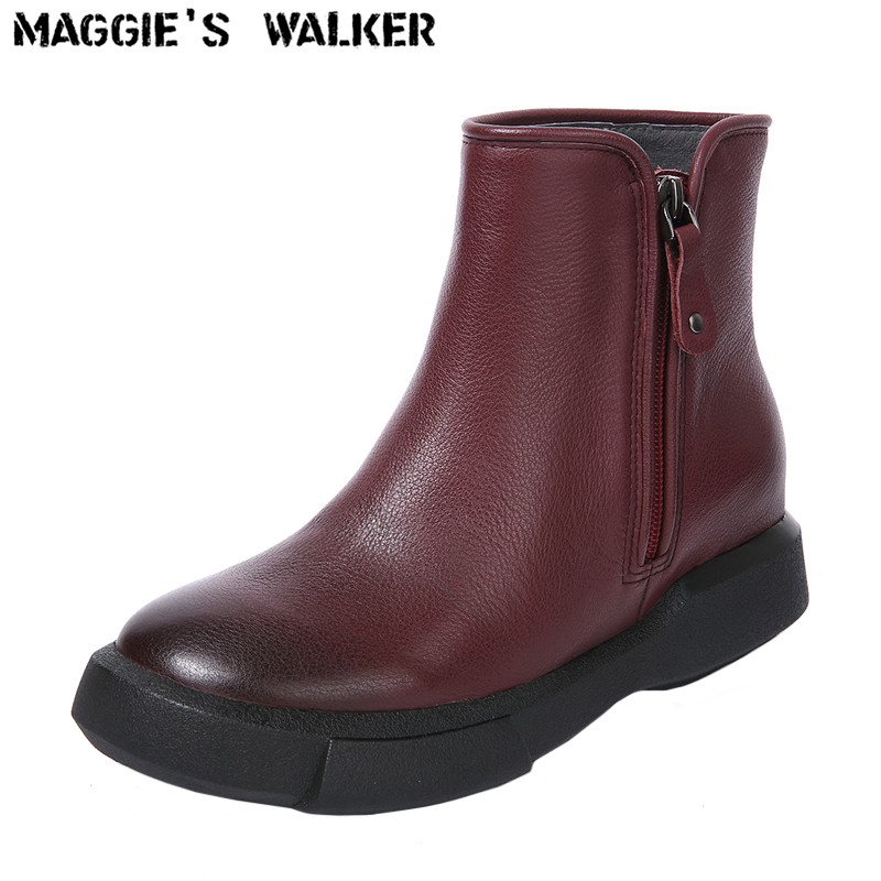 Maggie's Walker Women Fashion Genuine Leather Boots Autumn and Winter Ankle Boots with Zipper Size 35~41 Plus Size plus size zipper fly stud and appliques design straight leg jeans