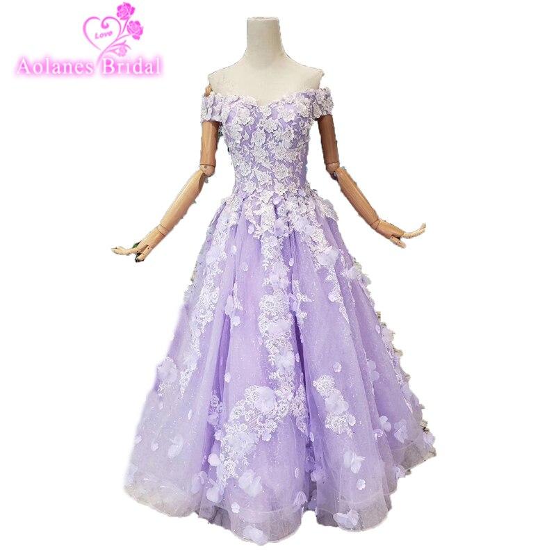 Vestido Festa Longo 3d Flowers Knee/long Dress Lace Appliques Beading Bridesmaid Dresses Violet Tulle Lace Up Back Prom Dresses